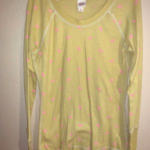 Mossimo Thermal Long Sleeve - Yellow w/ Pink Birds